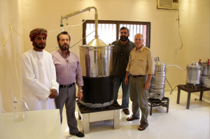 Mr. Abdullah Hamden, Gary Young, Mahmoud Suhail, M.D. and Cole Woolley at the Young Living distillery