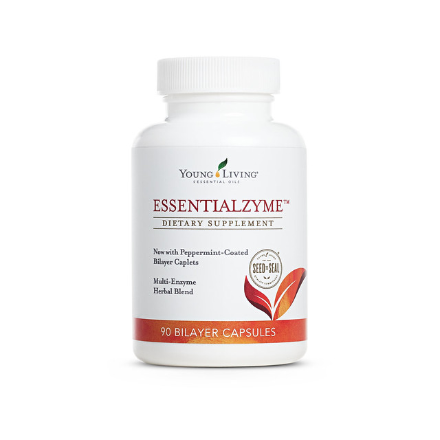 a bottle of Young Living Essentialzyme dietary supplement capsules