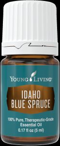 a bottle of Young Living Blue Spruce essential oil