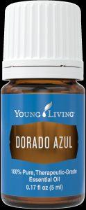 a bottle of Young Living Dorado Azul essential azul