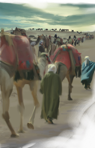 camel caravan drawing