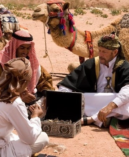 Gary Young with his Jordanian Bedouin friends