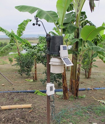 The weather station in Ecuador records all the weather components that affect the growing and harvesting of herbs.
