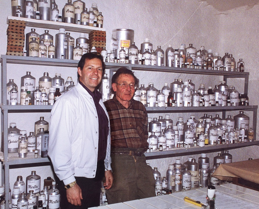 Annemarie sent Gary Young on a quest to learn all about essential oils. Here he is pictured with the French master distiller Henri Viaud who became Gary's mentor in the art of distillation at his lab in France.