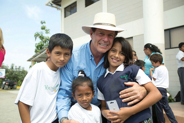 Gary Young with some of the students at the Young Living Academy in Chongon, Ecuador.