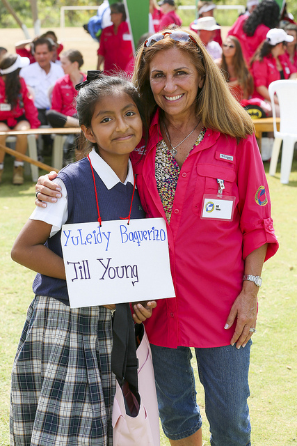 Young Living Member Jill Young with YuLeidy, the Chongon, Ecuador, child she is sponsoring.