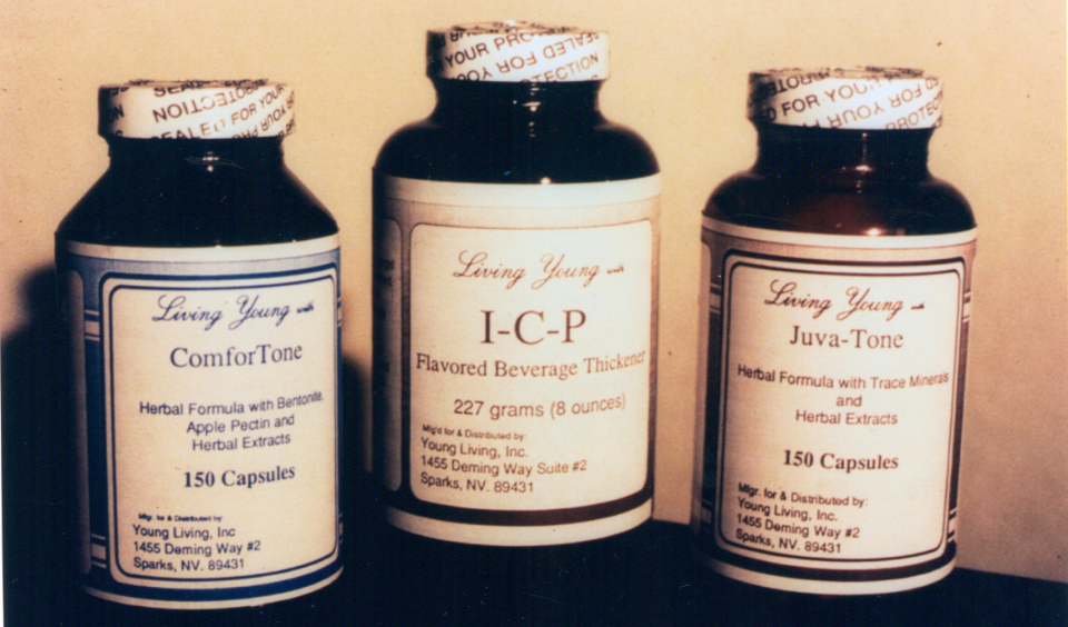 At the very beginning of Young Living Essential Oils, the labels were handwritten and put on with tape and glue sticks! This second version of labels had a little more style.