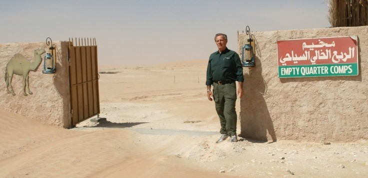 Gary at the camp in the Empty Quarter which stretches over 250,000 miles covering parts of Oman, Yemen, Saudi Arabia, and the United Arab Emirates.