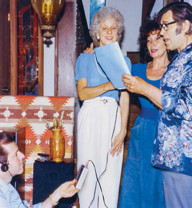 Gary taping Donna Riley, Clint Walker, and his wife Gigi singing at the Young Life Wellness Center in Mexico (1988).