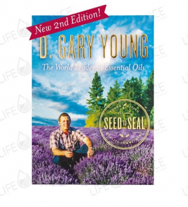 The cover of D. Gary Young: The World Leader in Essential Oils, showing D. Gary Young sitting in a field of lavender plants.