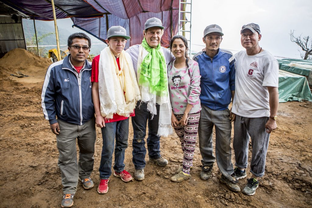 Gary Young with several residents of a Nepalese village